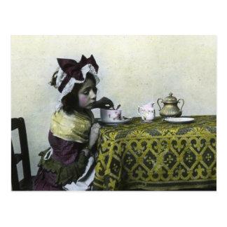 Victorian Girl Tea Time Vintage Magic Lantern Postcard