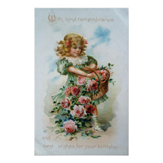Victorian Girl with Roses Poster
