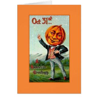 Victorian Halloween Pumpkin Head Greeting Card