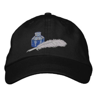 Victorian Ink and Quill Pen Embroidered Hat