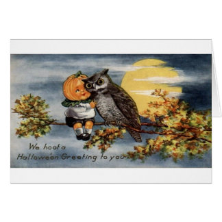 Victorian Jack-O-Lantern And Owl Halloween Card