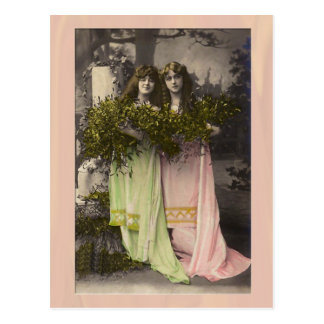 Victorian ladies with flowers in the cemetery post card