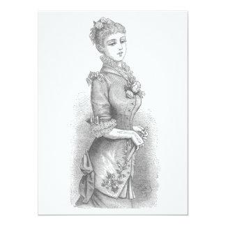 Victorian Lady 14 Cm X 19 Cm Invitation Card