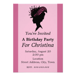 Victorian Lady Black Silhouette Fancy Hat Birthday Personalized Invites