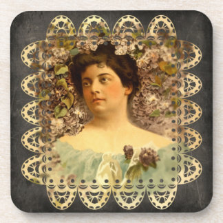 Victorian Lady Flowers and Lace - 6 Coasters