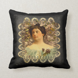 Victorian Lady Flowers and Lace Throw Pillow