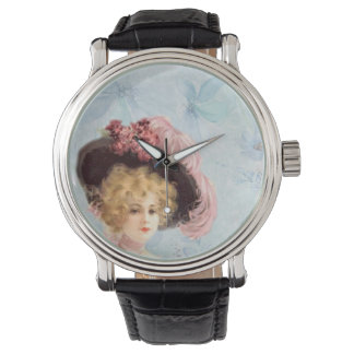 Victorian Lady in Feathered Hat Vintage Leather Watch