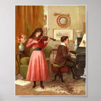 Victorian Lady Music Room Art Print Poster