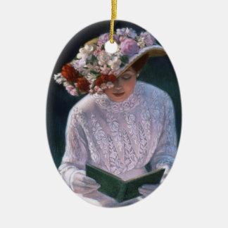 Victorian Lady Vintage Floral Christmas Ornament
