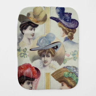 Victorian Lady – Vintage French Fashion –Hats Baby Burp Cloth