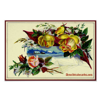 Victorian landscape with roses poster