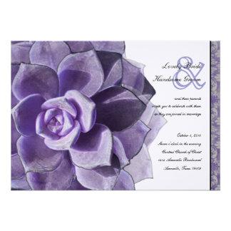 Victorian Lilac Succulent Wedding Invitation