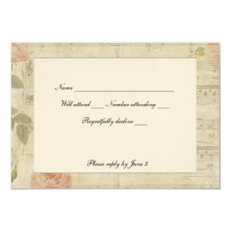 Victorian Music and Rose rsvp with envelopes 9 Cm X 13 Cm Invitation Card
