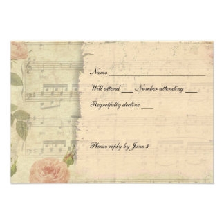 Victorian Music Rose rsvp with envelopes Custom Announcement