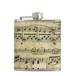 Victorian Music Sheet Wallpaper Hip Flask