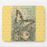 Victorian Natural Butterfly Collage Mouse Pad