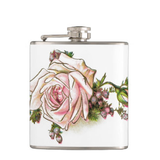Victorian Pink Rose and Buds Hip Flask