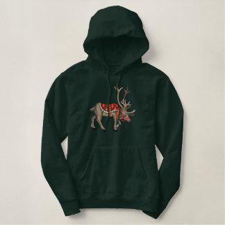 Victorian Reindeer Embroidered Hoodie