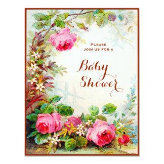 Victorian Rose Cottage Garden Baby Shower 11 Cm X 14 Cm Invitation Card
