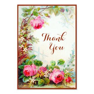 Victorian Rose Cottage Garden Blank Thank You 9 Cm X 13 Cm Invitation Card