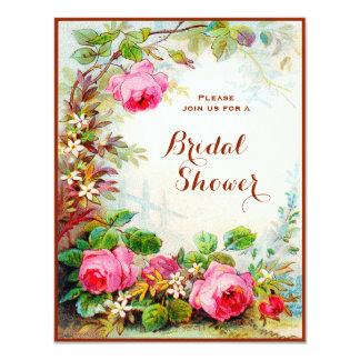 Victorian Rose Cottage Garden Bridal Shower 4.25x5.5 Paper Invitation Card