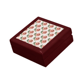 Victorian Roses Floral Square Tile Jewelry Box