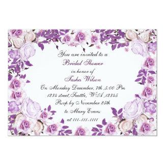 victorian roses purple Bridal Shower Invitation