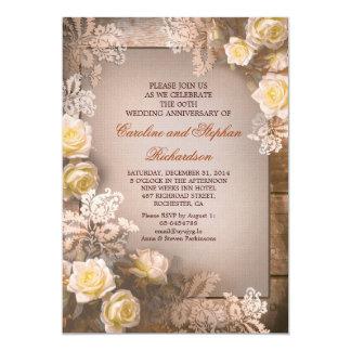 Victorian roses vintage anniversary invitations