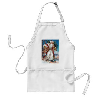 Victorian Santa Claus in Red Velvet and White Fur Standard Apron