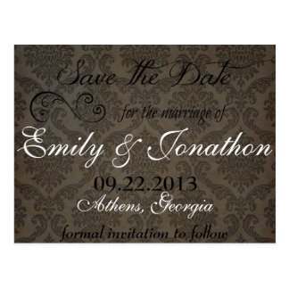 Victorian Scroll Save the Date Wedding Invitation Postcard