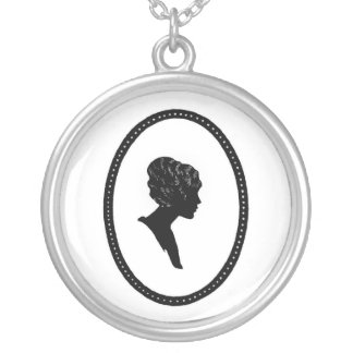 Victorian Silhouette Cameo Sterling Silver Necklac Round Pendant Necklace