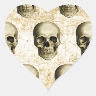 Victorian Steampunk Gothic Skulls Antique Vintage Heart Sticker