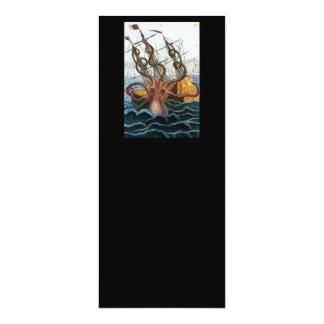 """Victorian Steampunk Kraken Octopus Sea Creature 4"""" X 9.25"""" Invitation Card"""