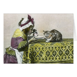 Victorian Tea Party and Friendly Kitty Vintage Card