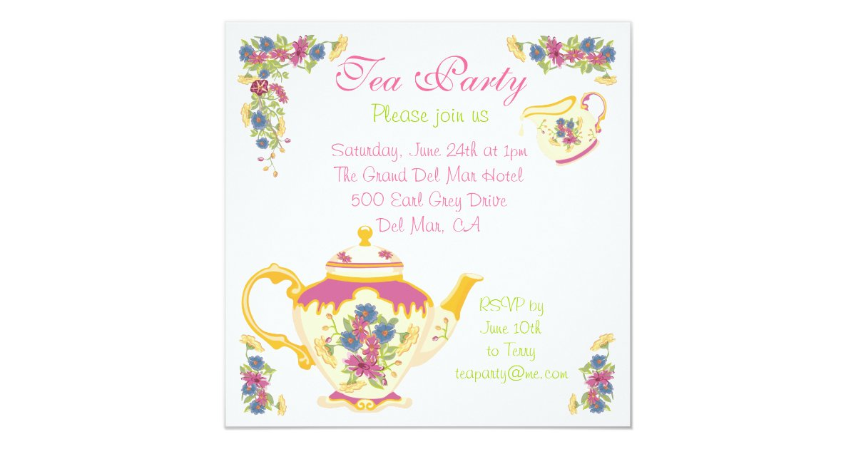 Victorian Tea Pot Tea Party Invitation | Zazzle.co.nz