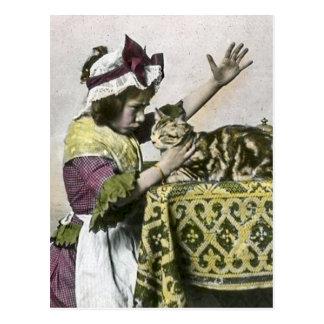 Victorian Tea Time With Kitty Tea Party Vintage Postcard
