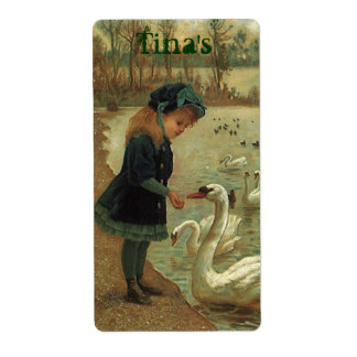 Victorian Trumpeter Swan Girl ~Possession Labels