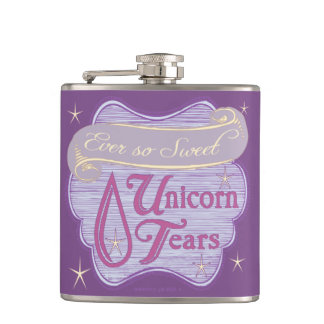 Victorian Unicorn Tears Label Hip Flask