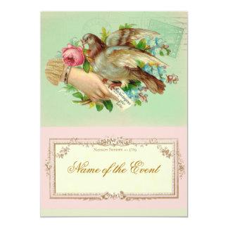 Victorian Valentine Bird and rose 13 Cm X 18 Cm Invitation Card