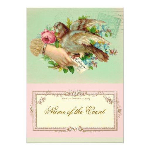 Victorian Valentine Bird and rose Invitations