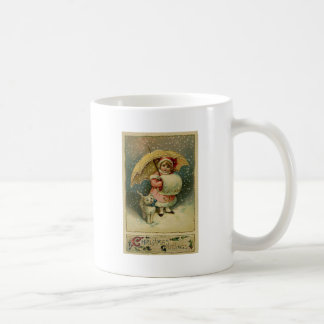 Victorian Vintage Retro Child and Cat Christmas Coffee Mug
