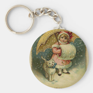 Victorian Vintage Retro Child and Cat Christmas Key Ring