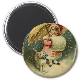 Victorian Vintage Retro Child and Cat Christmas Magnet