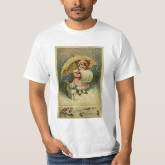Victorian Vintage Retro Child and Cat Christmas T-Shirt