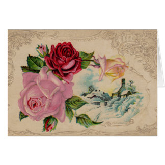 Victorian Winter Roses Thank You Card