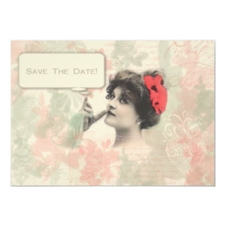 Victorian Woman Save The Date 5x7 Paper Invitation Card
