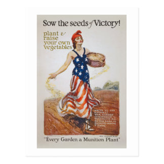 Victory Garden Liberty Sow Seeds WWI Propaganda Postcard