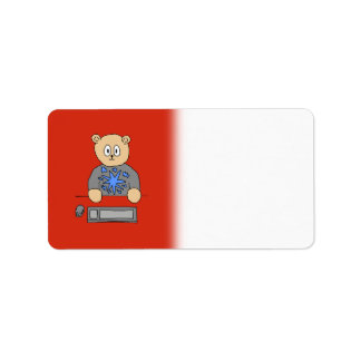 Video Game Player Bear. Address Label