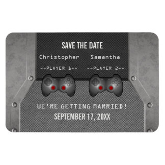 Video Game Save the Date Magnet, Gray Magnet