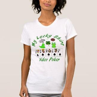 Video poker Gambeling Lucky shirt white